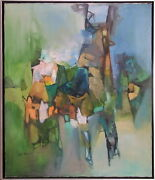 G.k. Pandit India 1970 Modern Abstract Landscape Painting Bombay Art Society