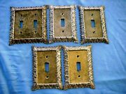 5 Ornate Floral Brass Metal Electrical Outlet Light Switch Plate Covers