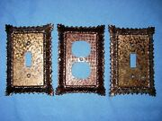 3 Ornate Floral Copper Metal Electrical Outlet Light Switch Plate Covers