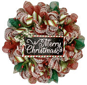 Merry Christmas Red And Green Striped Wreath Handmade Deco Mesh