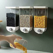 10xwall Mounted Press Cereals Dispenser Grain Storage Box Dry Food Container