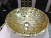 21 Inches Counter Top Vessel Yellow Marble Bathroom Wash Basin With Random Work