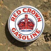 Red Crown Gasoline Led Sign Wall Mounted Light Box Garage Vintage Gas And Oil