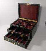 Magnificent Large Antique English Leather Jewellery Box C.1870