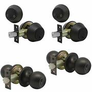 Set Of 2 Combo Entry Entrance Keyed Door Knob Lock Set Door Knobs And Double Cy...