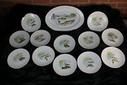 13pcs Fish Tableware French Limoges Marked Porcelain Plates