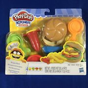 Play-doh Kitchen Creations Burger Bash W/ 4 Cans Of Compounds Hasbro New