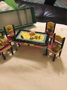Miniature Dollhouse/fairy Garden Furniture Table And Chairs And Animals Etc.