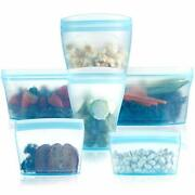 Reusable Food Container Silicone Bag Full Set 6 2cups 2dishes 2bags Zip Conta...