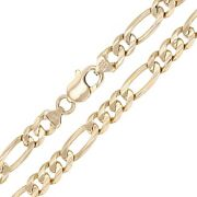 Menand039s 10k Yellow Gold Solid Figaro Chain Necklace Link 28 7.75mm 67 Grams