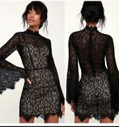 Ryse The Label Womens Carson Lace Bell Sleeve Mini Dres Black Size Large Nwt