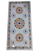30 X 72 Inch Marble Reception Table Top Hand Inlaid Dining Table With Gemstones