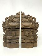 18th C Ancient Old Wooden Collectible Hand Carved God Figured Decor Door Panel