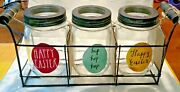 Brand New Rae Dunn Mason Jar/canister Set In Wire Basket Easter Hard To Find