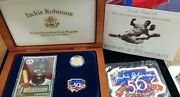 Jackie Robinson 50th Anniversary Commemorative 5 Gold Coin With Omp And Coa
