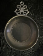 Antique American Gill Pewter Porringer With Basin Bowl And Old English Handle