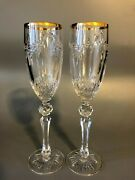 Two Waterford Crystal Toasting Flutes Champagne Glasses
