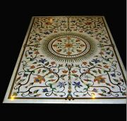 30 X 60 Inches Marble Utility Table Top Gemstones Inlay Work Dining Table Top