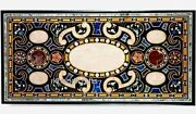 30 X 72 Inches Vintage Art Marble Coffee Table Top Handmade Black Dining Table