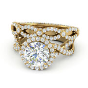 Excellent Cut 1.60 Ct Real Diamond Wedding Proposal Ring Set 14k Yellow Gold 5 6