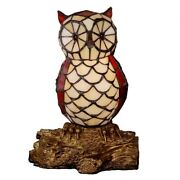 10in Cute Owl Mica Glass Style Table Lamp Stained Glass Night Light For Bedroom