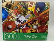 Mb 1500 Piece Jigsaw Puzzle - 32x24 Collage Time - Vintage Sports Equipment