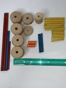 Lot Vintage Wooden Tinker Toys Wood Wheels Replacement Parts Rods Connectors