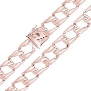 Menand039s 10k Rose Gold Light Weight Cuban Necklace Link Chain 22 13mm 57.6 Grams