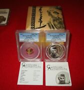 2017 Mongolia Fidel Castro .999 Gold And Silver 2 Coin Proof Set Pcgspr70 Asian