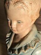 Antique Polychrome Plaster Bust Of Young Boy