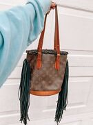 Louis Vuitton Vintage Small Bucket Bag With Fringe By Vintage Boho