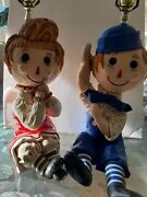 Very Rare Vintage Raggedy Ann And Andy Lamps 1940s, 1950, 19 Inch