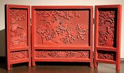 A Chinese Cinnabar Lacquered Table Screen Three Pages Ribbon Bird 911a