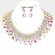 Luxe Gorgeous Gold Ab Crystal Collar Cocktail Necklace Set By Rocks Boutique