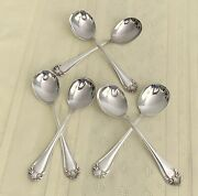 Vtg. Six 6 Rockford S.p. Co. 5 Star Silver Plate Round Spoons