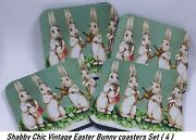 Shabby Chic Vintage Easter Bunny Bunnies Rabbits Holiday Coaster Set Of 4