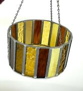 1970s Stained Glass Hanging Candle Holder Gold Brown Round Bowl