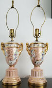 Pair Of Old Paris Rotary Clock Style Pink Lamps W/ Gold Handles And Base H 26andrdquo