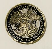 Sought After-unique-chaplain-st. Michael Police Officer -police Challenge Coin