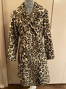 Vintage 1950s 1960s Leopard Print Double Breasted Fitted Coat Faux Fur Safari -s