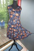Quirky Frock Shop Goth Victorian Multi Fall Birch Tree 2 Pocket Skater Dress L