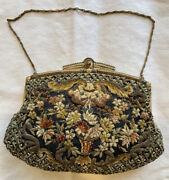 Antique/vintage Fine Purse With Gilt Bullion, Chenille Embroidery And Beaded Dec