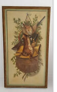 Antique Large Still Life W/ Game Dutch Oil Painting Signed Aa Duval C. 1933