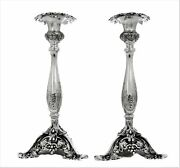 Italian 925 Sterling Silver Handcrafted Elegant Glossy Floral Candlesticks