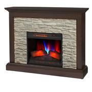 Freestanding Electric Fireplace Mantel Remote Control Infrared Plug-in Brown 50