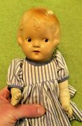 Antique Composite Baby Doll 14 Tall Has Metal Joints Cloth Body Toys Rare