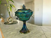 Indiana Blue Carnival Glass Harvest Grape Pedestal Compote Bowl Candy Dish
