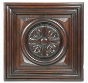 Antique English Jacobean Style Carved Chestnut Salvaged Geometric Panel Door