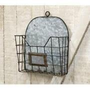 Galvanized Tin And Chicken Wire Wall Hanging Mail Pocket Basket