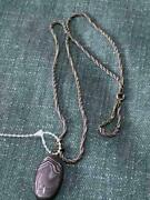 Vintage London Uk Sterling Silver And Agate Pendant On Chain - Jewelry